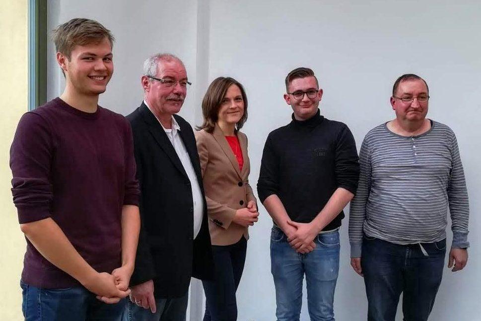 Von links nach rechts: ? Klaus Engelmann, Elisabeth Kaiser (MdB), Valentin Rühlmann, Timo Kistritz